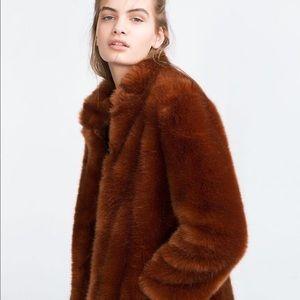 Zara orange faux fur jacket